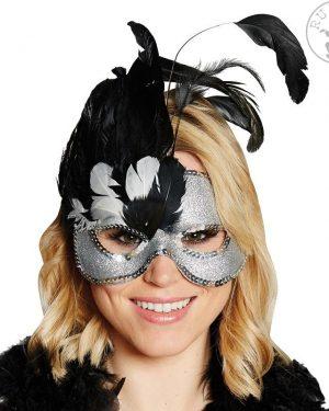 beneška-maska-srebrna-s-perjem